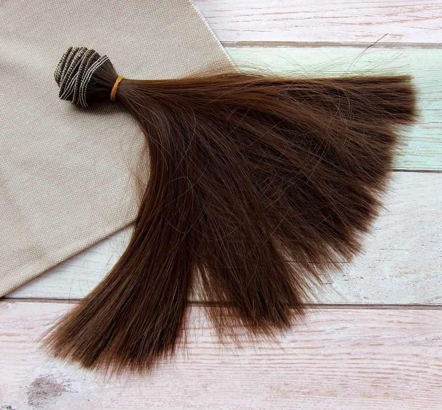 Волосы прямые 30 (коричневый), 20 см