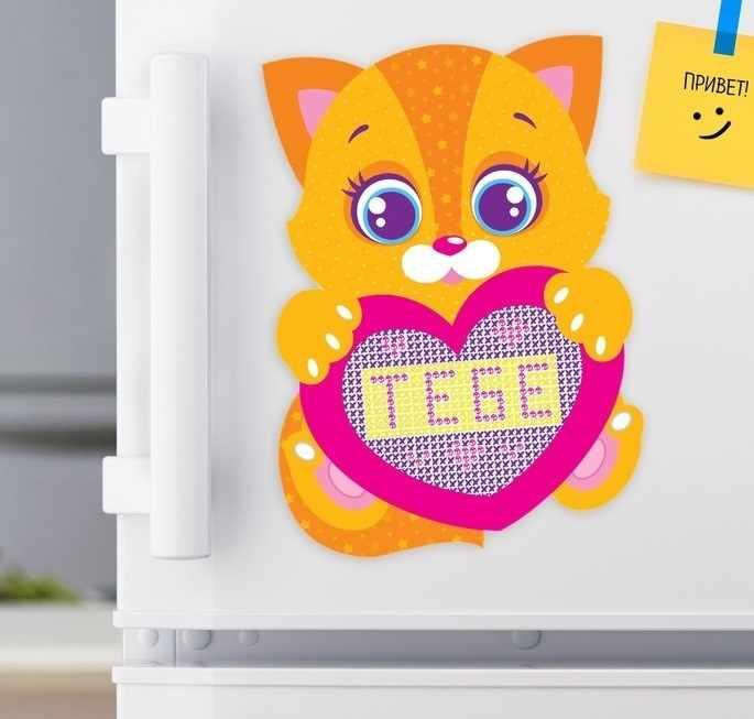 """1986566 Вышивка крестиком на магните """"Котёнок"""""""