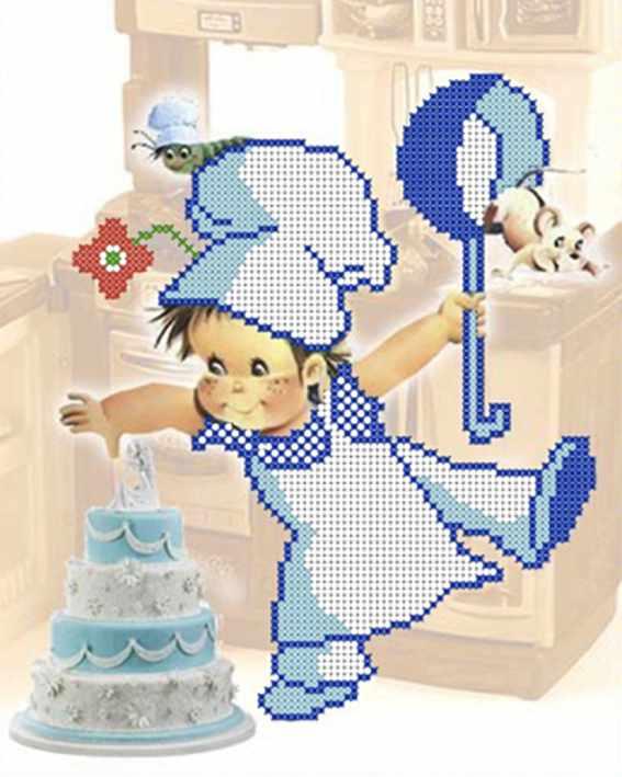 ДА4-012 Поваренок с тортиком 1 - схема для вышивания (Наследие)
