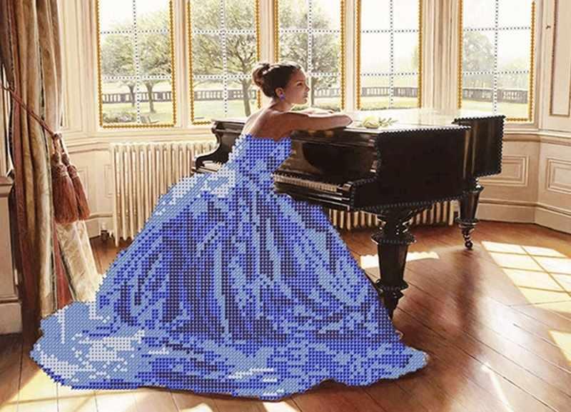 КБ-104 Девушка за роялем - схема для вышивания (Наследие)