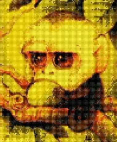71004-67 Милая обезьянка с яблоком