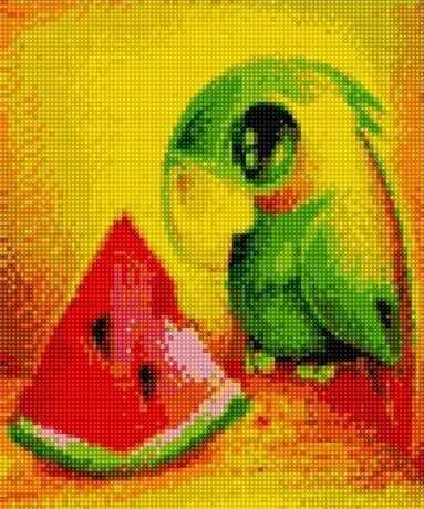 71004-72 Милый зелёный попугай