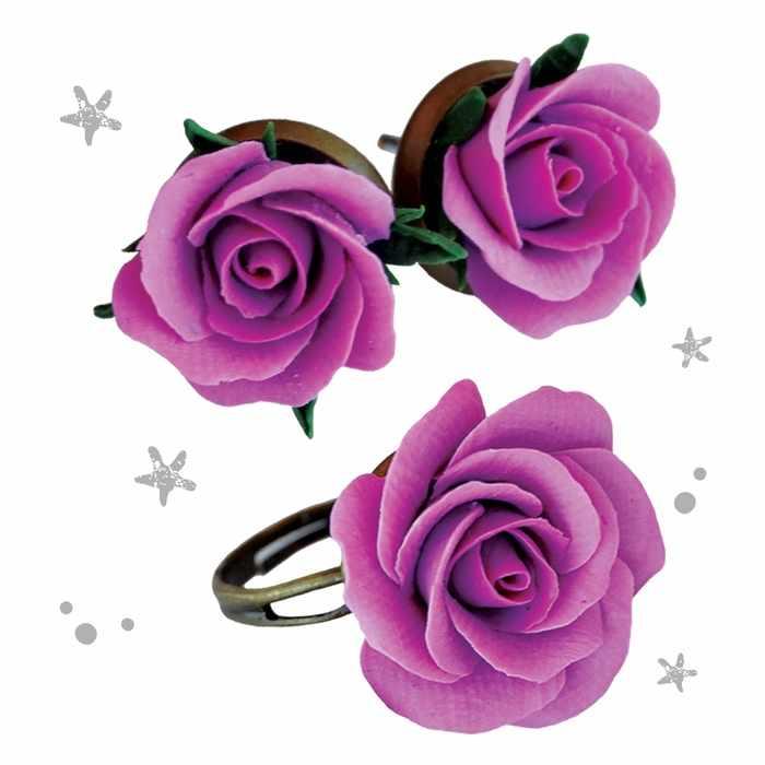 """2983541 Украшения из полимерной глины """"Розы"""", набор: кольцо и серьги"""