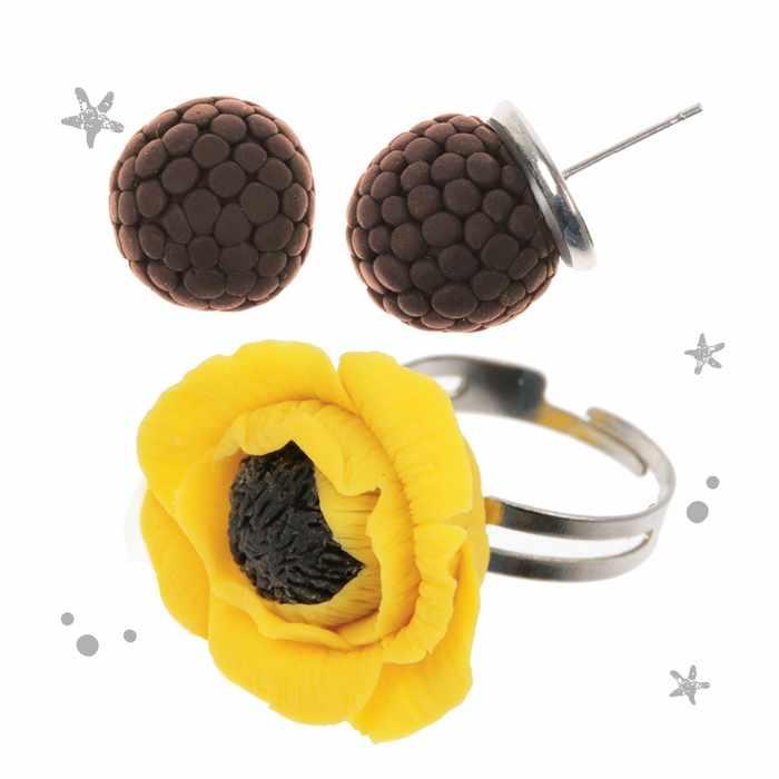 """2983542 Украшения из полимерной глины """"Жёлтые маки"""", набор: кольцо и серьги"""