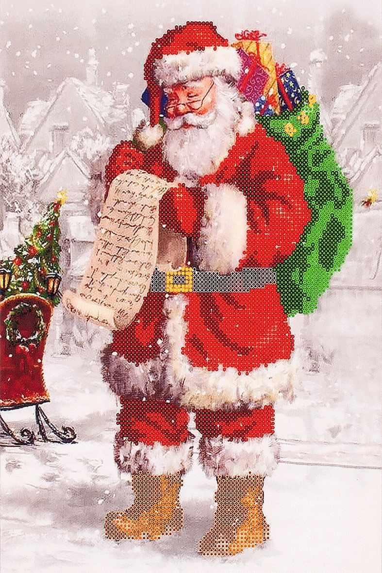 """FLS-001 Схема для вышивания бисером """"Дед Мороз"""""""