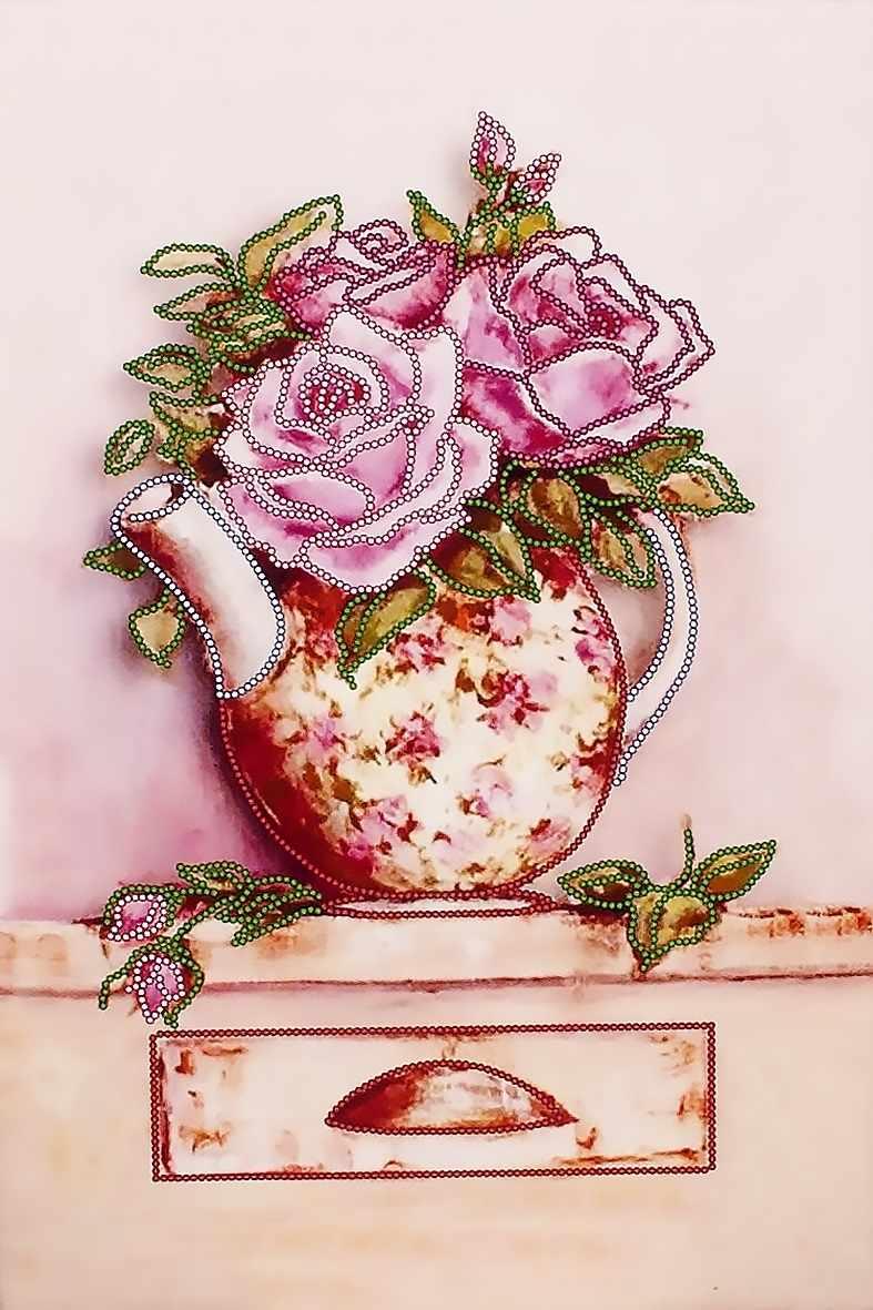 """FLS-035 Схема для вышивания бисером """"Розовый букет"""""""