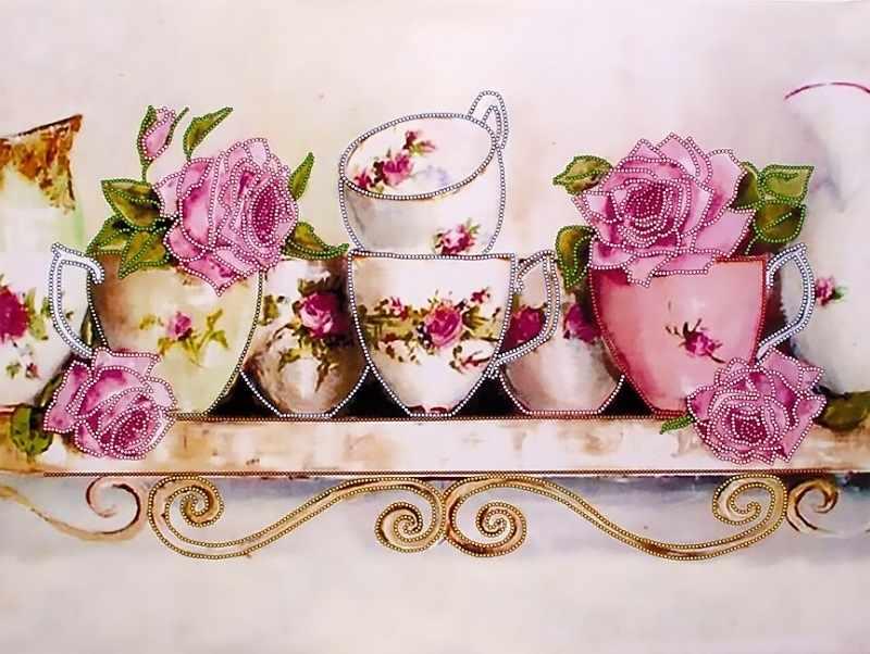 """FLS-038 Схема для вышивания бисером """"Чайные розы 3"""""""
