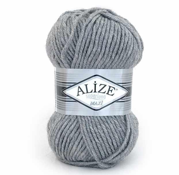 Пряжа Alize Superlana Maxi Цвет.021 Светло серый