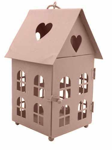 BL0070131 Декоративный домик-фонарик, метал, нежно-розовый, 11х11х18см