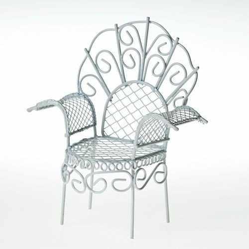 SCB27032 Металлическое мини кресло, белое 10X6X11см