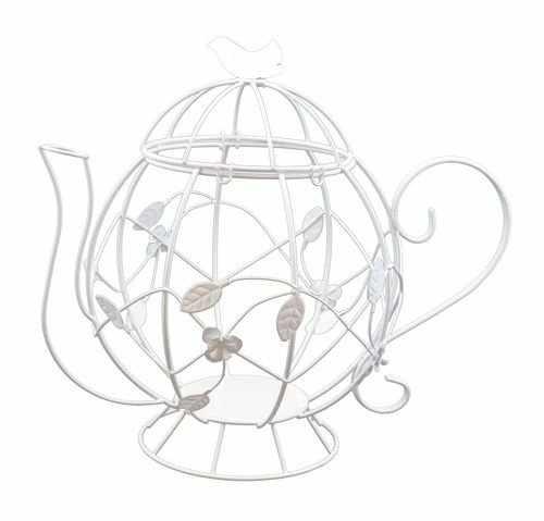 SCB271038 Металлический чайник с птичкой белый