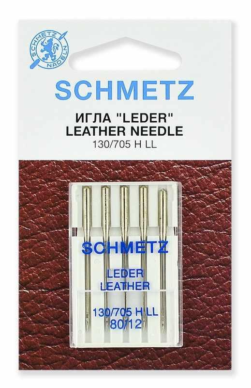 0701188 Иглы для кожи Schmetz 130/705H LL № 80, 5 шт.