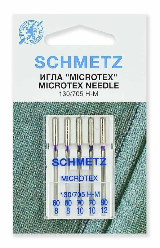 0701260 Иглы микротекс (особо острые) Schmetz 130/705H-M №60(2),70(2),80, 5 шт.