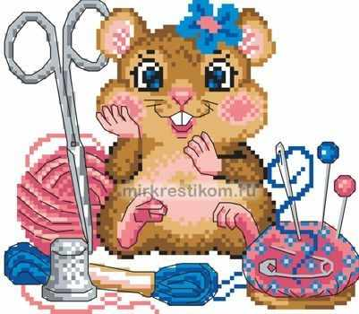 8146 Хомяк за рукоделием - схема для вышивания (Искусница)