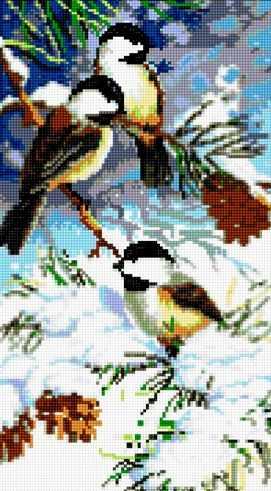 Алмазная вышивка 50056 Птицы в зимнем лесу