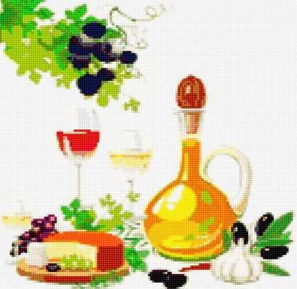 50092 Вино, сыр и оливки