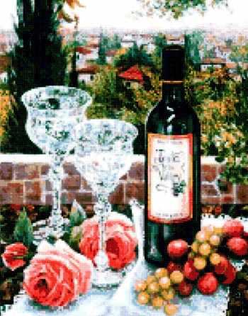 50102 Вино и хрустальные бокалы