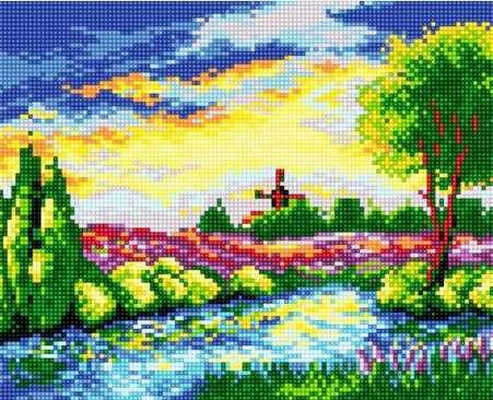 71033-32 Цветочное поле у реки