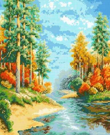 71033-39 Берег реки в лесу