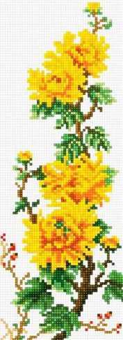 71039-04 Ветка жёлтых пионов