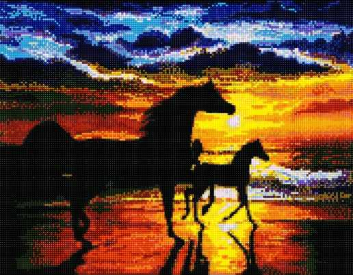 71040-09 Лошади на закате