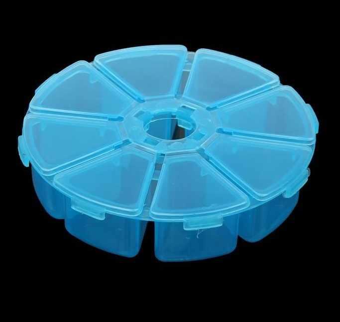 """2301101 Шкатулка пластик для мелочей """"Круглая"""" 8 отделений микс"""