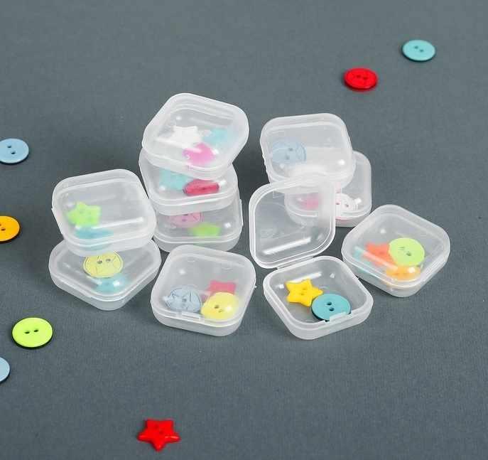 2610596 Контейнеры для хранения мелочей, 3*3*1,5см, 10шт, цвет прозрачный