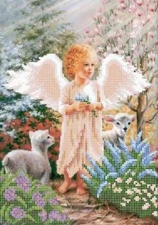 ЗПА-001 Ангелок с овечками - схема для вышивания (Золотая подкова)