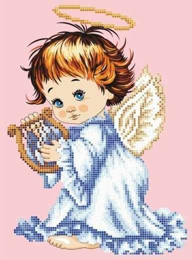 ЗПА-004 Ангелок с лирой - схема для вышивания (Золотая подкова)