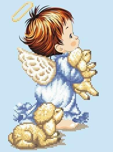 ЗПА-005  Ангелок с ягнятами - схема для вышивания (Золотая подкова)