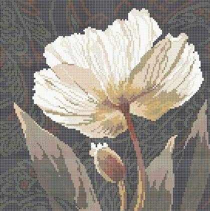 ЗПК-004 Белый пион - схема для вышивания (Золотая подкова)