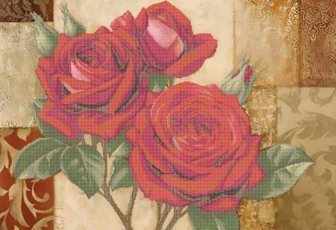 ЗПК-021 Красные розы - схема для вышивания (Золотая подкова)