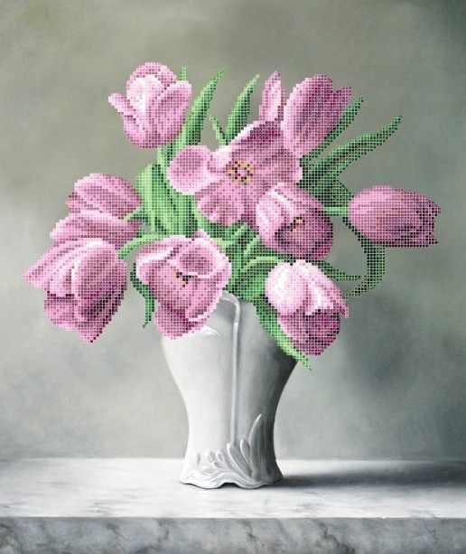 ЗПК-028 Тюльпаны в вазе - схема для вышивания (Золотая подкова)