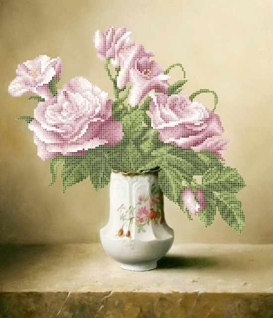 ЗПК-029 Розовые розы - схема для вышивания (Золотая подкова)