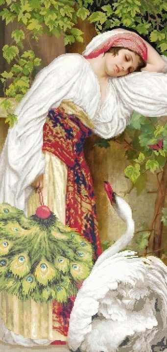 ЗПЛ-002 Девушка и лебедь - схема для вышивания (Золотая подкова)