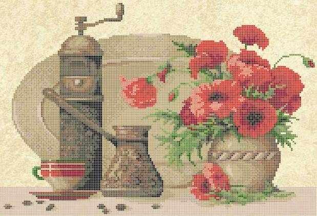 ЗПН-013 Кофейный натюрморт с маками