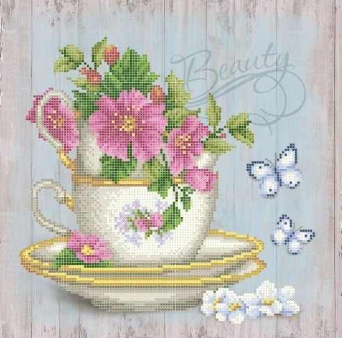 ЗПН-022 Цветочный чай - схема для вышивания (Золотая подкова)