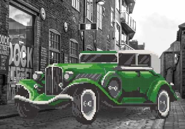 MMГП-003 Улица. Зеленый автомобиль. - схема для вышивания (MOSMARA)