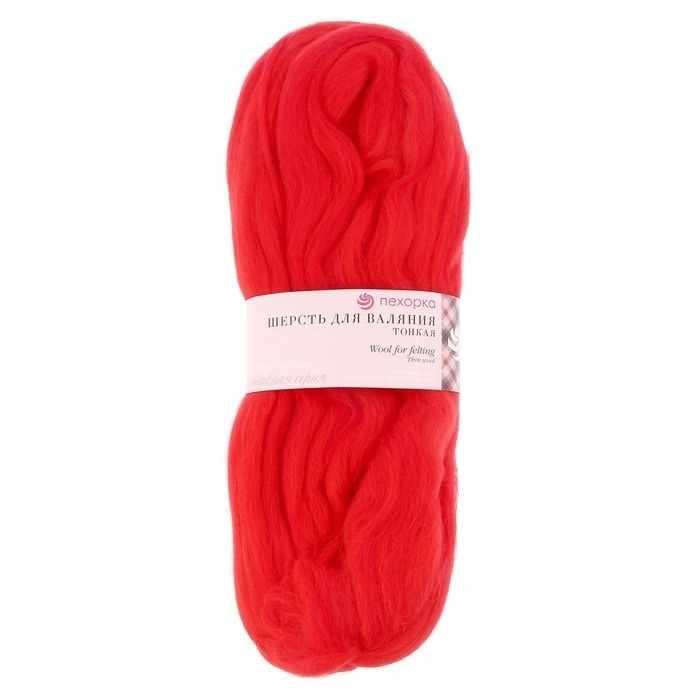 Пряжа Пехорка Шерсть для валяния тонкая Цвет.06 Красный