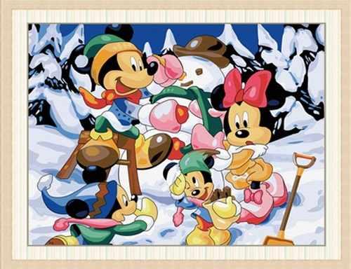 """ME012 """"Микки Маусы в зимнем лесу"""" - раскраска (Menglei)"""