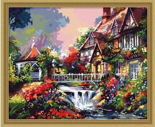 "MG009 ""Дом с водопадом"" - раскраска (Menglei)"