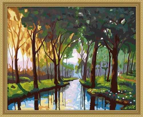 """MG052 """"Река в тени деревьев"""" - раскраска (Menglei)"""