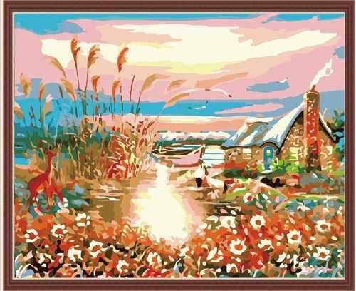 "MG150 ""Закат на реке"" - раскраска (Menglei)"