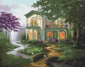 """MG280 """"Дом у ручья"""" - раскраска (Menglei)"""