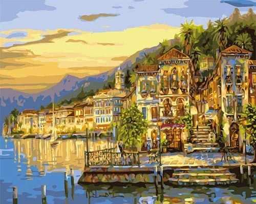 """MMC017 """"Рассвет на городском побережье"""" - раскраска (Menglei)"""