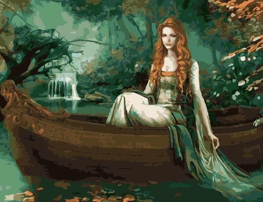 """MMC024 """"Девушка в лодке"""" - раскраска (Menglei)"""