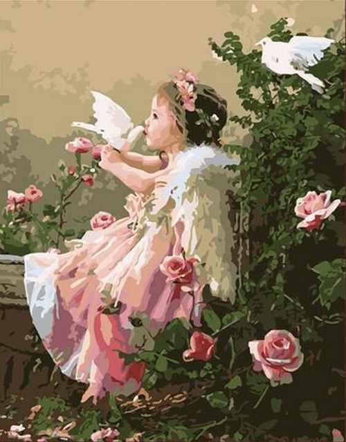 """MMC044 """"Девочка с голубями"""" - раскраска (Menglei)"""