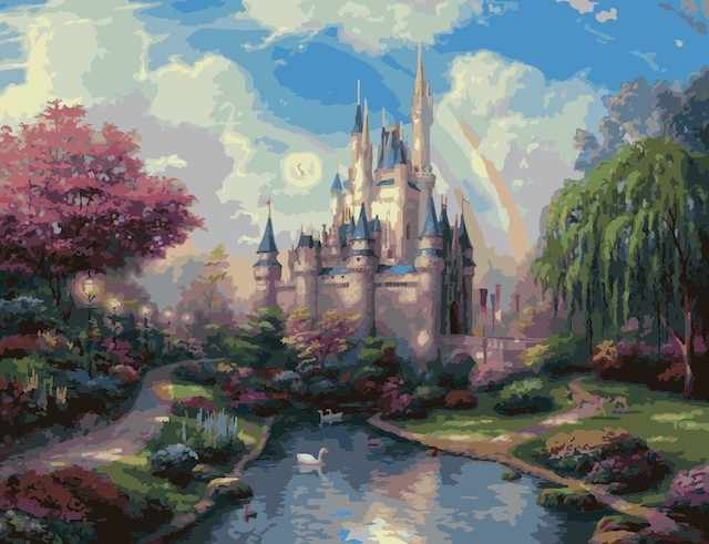 """MMC057 """"Замок вдали"""" - раскраска (Menglei)"""