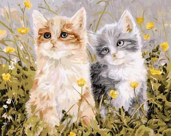 """MMC062 """"Котята в траве"""" - раскраска (Menglei)"""