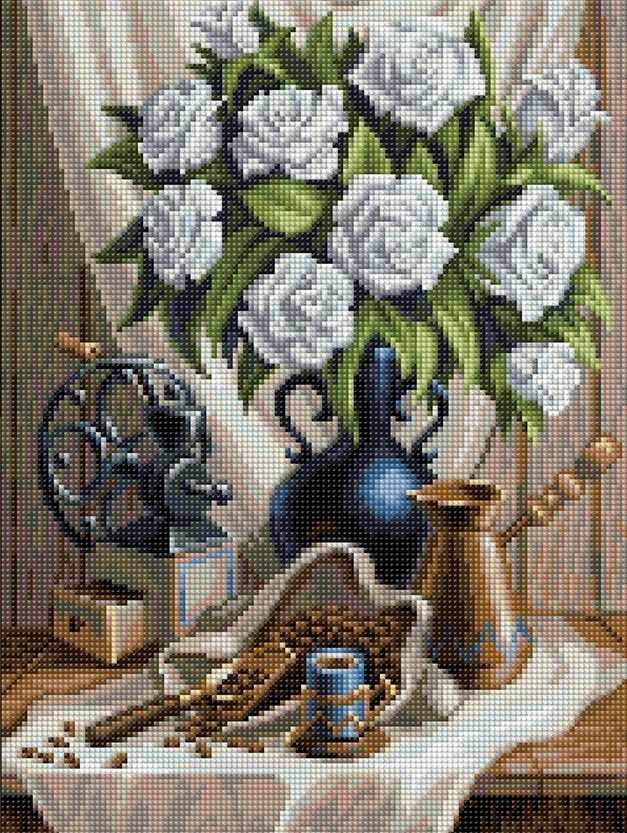 Алмазная вышивка Белые розы и черный кофе (АЖ-1657) - картина стразами